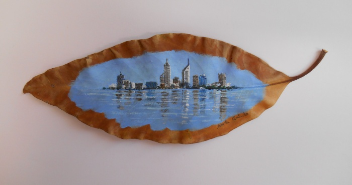 Perth skyline on a tree leaf